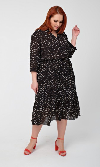 Платье 0166-1 черный с бежевым