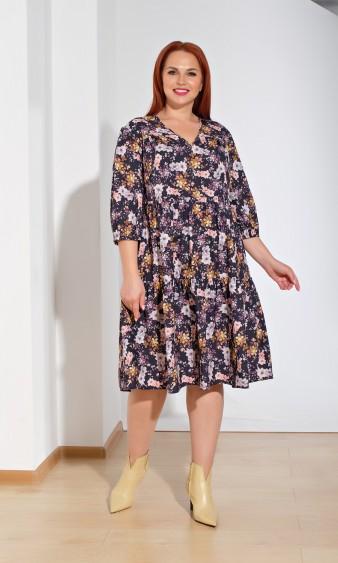 Платье 0060-23 черно-бежевый