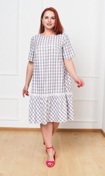 Платье 0091-9 серо-белый