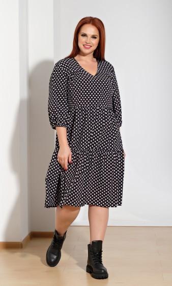 Платье 0060-23 черно-белый