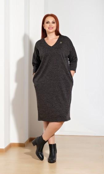 Платье 0050-9 черный меланж
